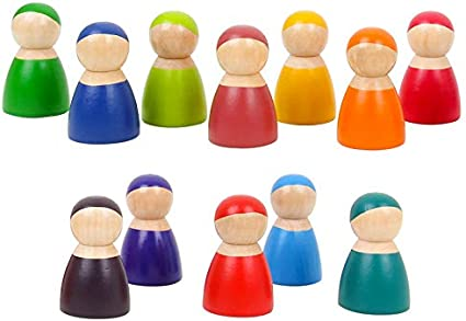 Rainbow Peg People Set of 12 toddler toy  Montessori Dolls Wooden Peg Dolls Wood Toy Waldorf Play Sets Story playpuzzlecounting
