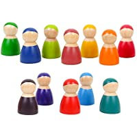 Agirlgle Toddler Wooden Toys 12 Rainbow Friends Wooden Peg Dolls Bodies Baby Kids Wooden Pretend Play for Toddlers People Figures Shape Preschool Learning Educational Toys Montessori Toys