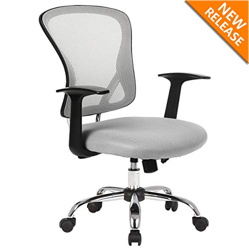 Office Mesh Task Chair Mid Back Swivel Computer Desk Chairs with Armrest,Backrest and Adjustable Seat Height for Home Office Conference Room Gray