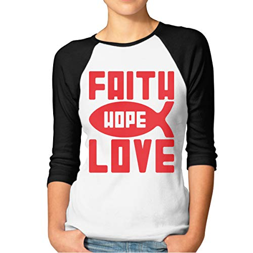 Sampaitary Women Faith Hope Love Fashion T-Shirt XXL Black