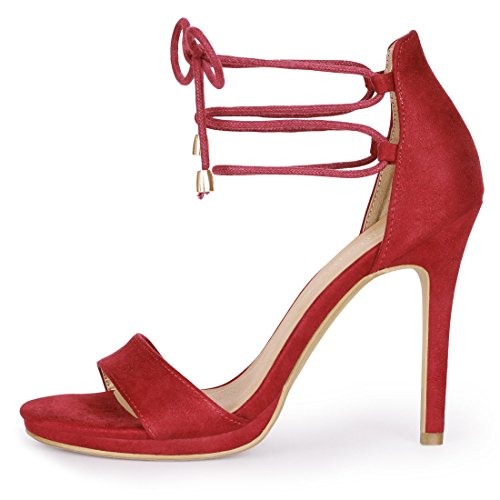 Heels Allegra up Women Red Lace K Suede faux q4x4wrICH