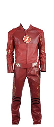 The Flash Eobard Thawne Barry Allen Battleframe PU Cosplay Costume (Medium Male, Red)