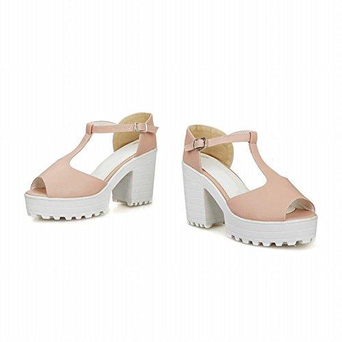 Carol Scarpe Moda Donna Dolce T-straps Fibbia Peep-toe Chic Piattaforma Alti Sandali Tacco Grosso Rosa