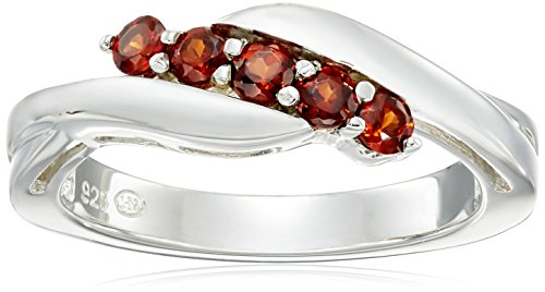 Sterling Silver Genuine Garnet Five Stone Bypass Ring, Size 7