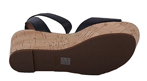 Toe Open Black Leather Coach Sandals Womens Semi Casual Platform I6OqwT7xq