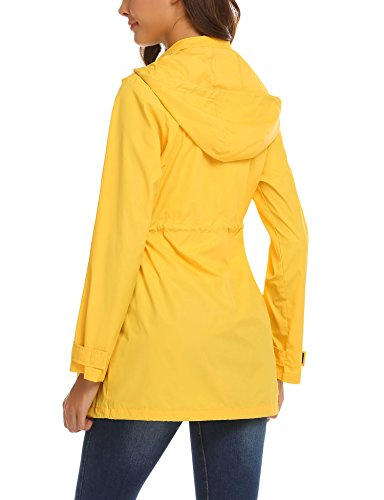 cef2bd809 Mofavor Women's Lightweight Waterproof Raincoat Hoodie Rain Jacket Outdoor  Anorak Windbreaker