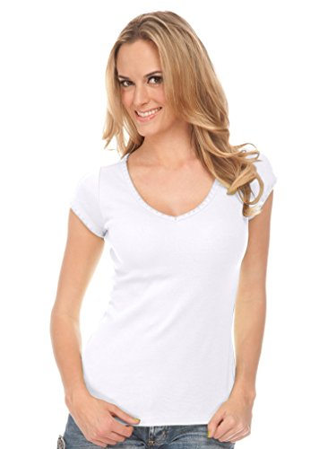 Cap Sleeve Womens Shell (Kavio! Junior Seashell Stitch V Neck Cap Sleeve Top White M)