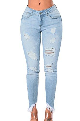 Zojuyozio Un Trou De Pompons Taille Haute, Des Jeans Dchirs, Des Pantalons Jeans Lightblue