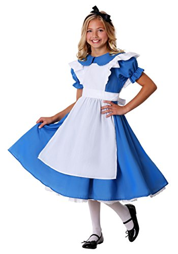 Child Alice in Wonderland Deluxe Alice Costume Dress Large (12-14) Blue,White -