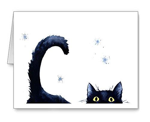 Sneaky Black Cat Set of 10 Art Note Cards by Watercolor Artist DJ Rogers ()