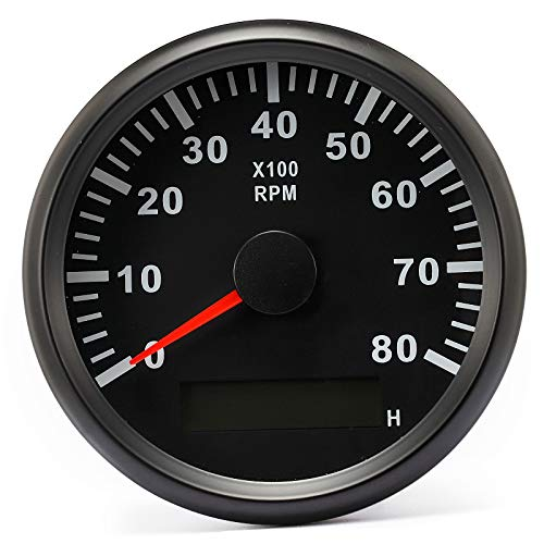 ELING Tachometer RPM Gauge with Hour Meter for Car Truck Boat Yacht 0-8000RPM 85mm with Backlight