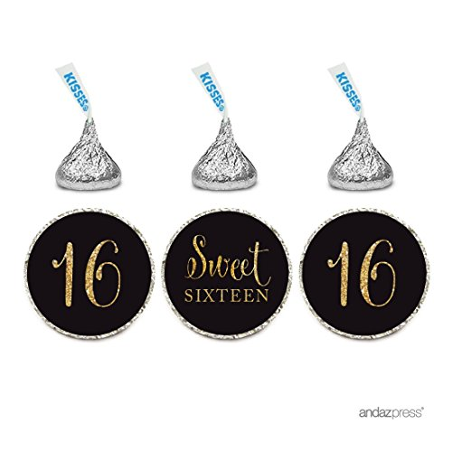 Andaz Press Gold Glitter Print Chocolate Drop Labels Stickers, Sweet 16 Birthday, Black, 216-Pack, Not Real Glitter, For Hershey's Kisses Party Favors (Party Favor For Sweet 16)