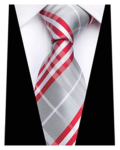 MENDENG New Classic Striped Silver Red Jacquard Woven Ties Silk Mens Tie ()