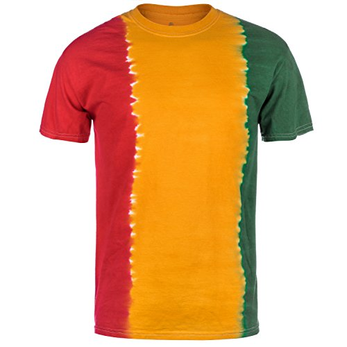 Magic River Handcrafted Tie Dye T Shirts - Rasta Fade - Adult X-Large ()