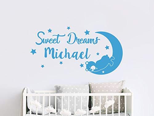 Dozili Boys Name Wall Decal Sweet Dreams Nursery Vinyl Sticker Personalized Custom Name Teddy Bear Moon and Star Decals Kids Bedroom Decor 11