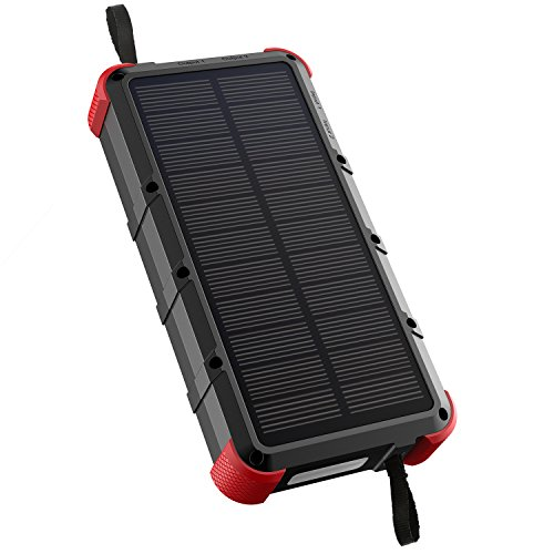 [Quick Charge] OUTXE 20000mAh Rugged Solar Charger (Dual Input) IP67 Waterproof Power Bank with Flashlight