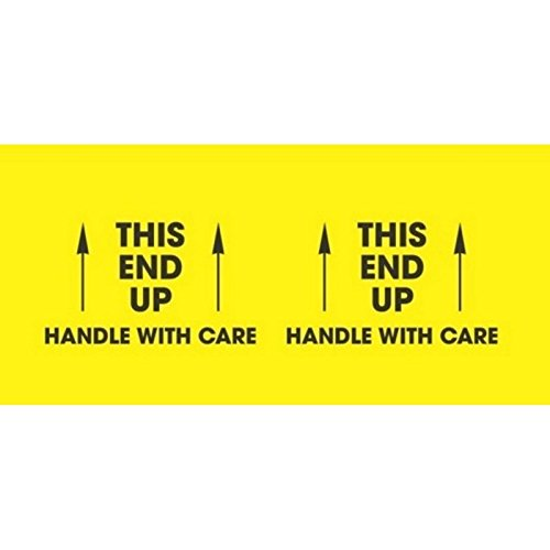Generic DL3151''This End Up - Handle with Care'' Labels, 3'' x 10'', Fluorescent Yellow