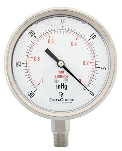 "4"" All Stainless Steel Oil Filled Vacuum Pressure Gauge - 3/8"" NPT Lower Mount, 30HG/0PSI"