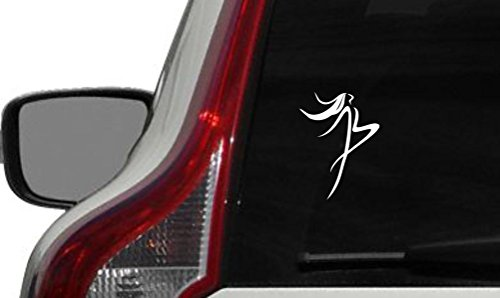 Ballerina Sketch Outline Version 4 Car Vinyl Sticker Decal Bumper Sticker for Auto Cars Trucks Windshield Custom Walls Windows Ipad Macbook Laptop and More (WHITE)