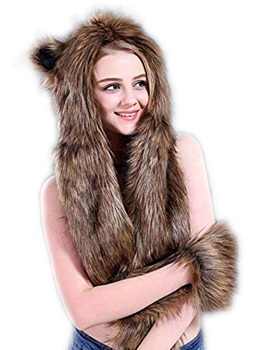 Drecode Winter Faux Fur Hooded Scarf with Pockets and Ears Furry Headscarf Neckwarmer Hoodie Hat Mittens for Women and Girls (Brown) ()