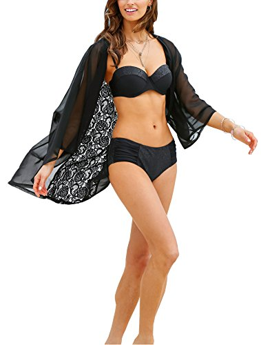 Hibluco Women's Loose Cover Ups Kimono Cardigan Oversized Chiffon Blouses Sheer Tops (X-Large, K 2) (Open Front Swimsuit Cover Up)