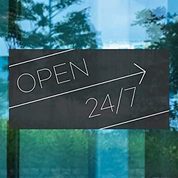 CGSignLab Basic Black Window Cling 24x12 Open 24//7 5-Pack