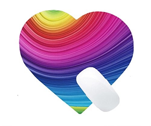 Mousepad Spiral Rainbow Background Print Non-Slip Love Heart Mouse Mat