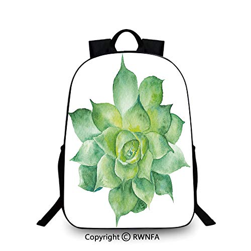 Travel waterproof schoolbag,Green Tropical Plant Hand Painted Agave Botanical Gardening Theme Image Backpack Cool Children Bookbag, Almond Green Yellow