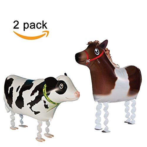 Learn More About Walking Animal Balloons Horse and Cow Balloon Air Walkers, Kids Farm Animal Theme Birthday Party Supplies Birthday Decorations