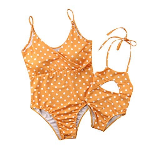 Tantisy ♣↭♣ Mom and Daughter One Piece Swimsuit Set Fashion Wave Point Matching Swimwear Lace Up Bathing Suits Yellow
