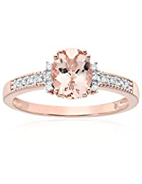 Rose Gold-plated Silver Morganite And Diamond Accented Solitaire Engagement Ring, Size 7