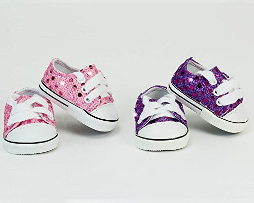 18 Inch Doll Sequin Tennis Shoe Set. Includes Pink & Purple Doll Shoes
