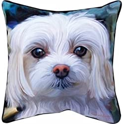 """MWW Manual Paws and Whiskers Throw Pillow, Little Lord Malty Maltese, 18"""""""