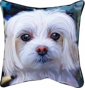MWW Manual Paws and Whiskers Throw Pillow, Little Lord Malty Maltese, 18""
