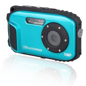 Cámara digital VAK DC-168 sumergible 10m face detection 16MP Smile shutter Azul