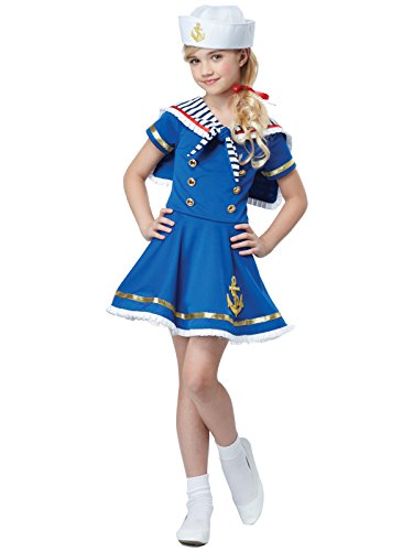 Sailor Hats For Sale (California Costumes Sunny Sailor Girl Costume, Blue/White, Small)