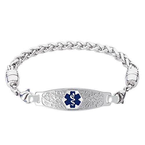 Divoti Custom Engraved Medical Alert Bracelets for Women, Stainless Steel Medical Bracelet, Medical ID Bracelet w/Free Engraving - Beautiful Olive Tag w/Wheat-Deep Blue-7.0""