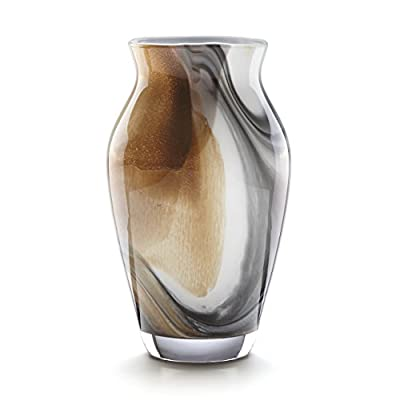 """Lenox 871430 Seaview Sand 10"""" Tulip Vase, 4.25 LB, Taupe/Grey - Crafted of non lead Crystal Hand wash only Height of 10 inches - vases, kitchen-dining-room-decor, kitchen-dining-room - 41tgrVArbRL. SS400  -"""