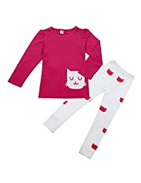 Orangeskycn New Kids Girl Long Sleeve Cartoon Cat Shirt Pant Suit
