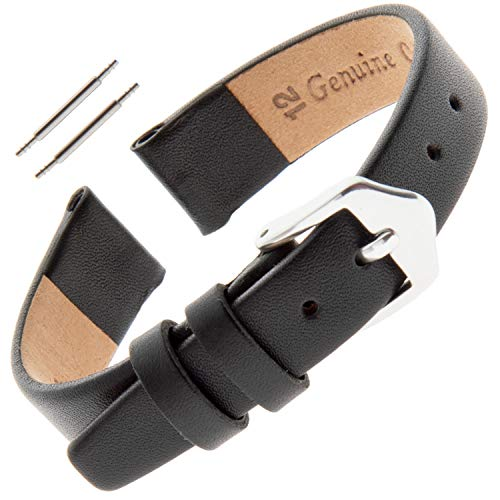 Gilden Ladies 6-14mm Classic Calfskin Flat Black Leather Watch Band F60 (14 Millimeter Width, Regular Length, Black, Silver-Tone Buckle) 14mm Ladies Watch Band