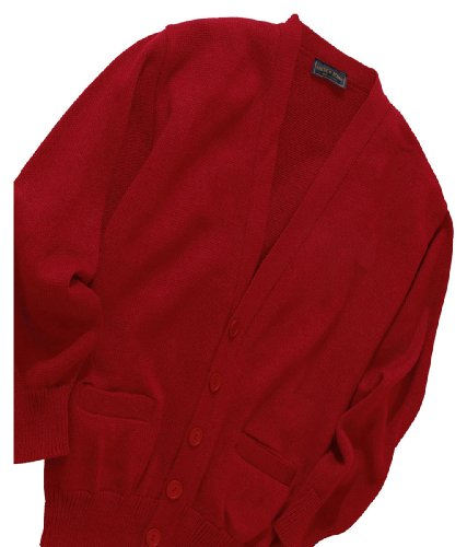 Ed Garments USA Made V Neck Jersey Stitch Cardigan, RED, XX-Large (Stitch Cardigan V-neck)