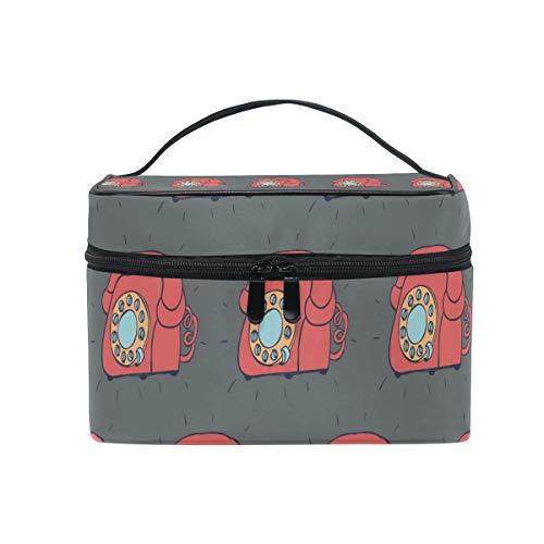 Makeup Cosmetic Bag Retro Telephone Grey Background Portable Travel Train Case Toiletry Bags Organizer Multifunction Storage ()