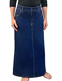 Kosher Casual Women's Modest Long A-Line Denim Skirt