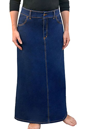 Women's Modest Long A-Line Denim Skirt XL Stonewash - Shipping International Time