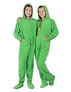 Footed Pajamas - Emerald Green Kids Hoodie Fleece