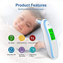 Baby Thermometer, Forehead and Ear Thermometer for Fever, Digital Medical Infrared Thermometers Instant Reading Suitable for Baby, Toddler and Adults with CE and FDA Approved ...