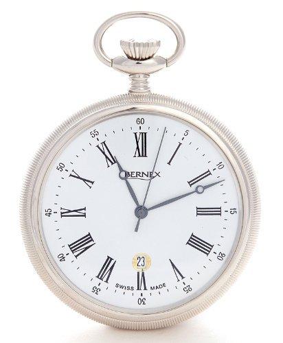 Bernex Swiss Made Rhodium Plated Pocket Watch Slim Open Face Case