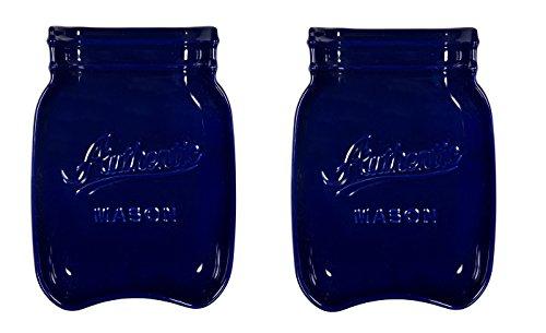 Home Essentials & Beyond 73633 Mason Jar Spoon Rest, Cobalt Blue (2) by Home Essentials & Beyond