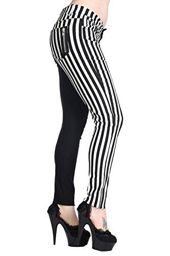 Pantalon Banned Slim Femmes à la Mode Blanc et Noir à rayures Emo Punk