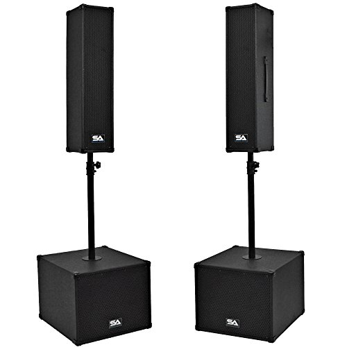 Seismic Audio - SA-CPPA2 - Powered Compact Portable PA System - Pair of 4x5 Column Speakers, Pair of 12 Inch Subwoofers and Poles - Live Sound, Band DJ